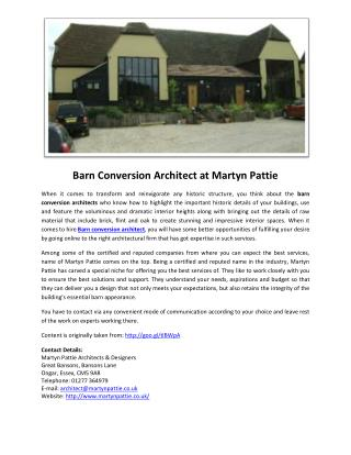 Barn Conversion Architect at Martyn Pattie