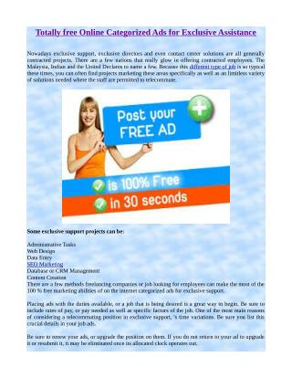 Totally free Online Categorized Ads for Exclusive Assistance