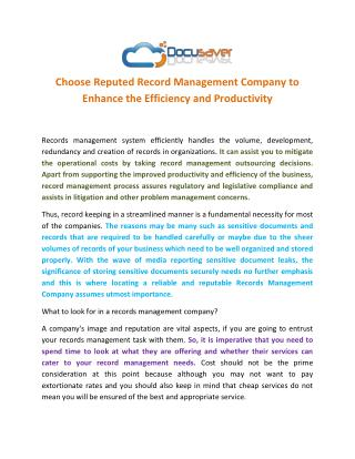 Choose Reputed Record Management Company to Enhance the Efficiency and Productivity