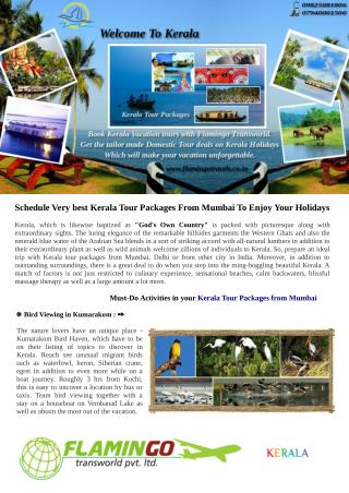 Schedule Very Best Kerala Tour Packages From Mumbai To Enjoy Your Holidays