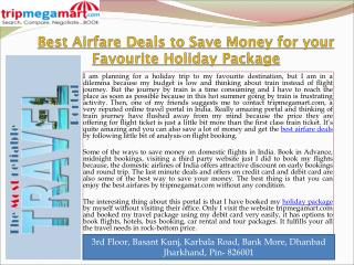 Best Airfare Deals to Save Money for your Favourite Holiday Package