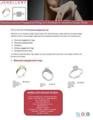 Dazzling Diamond Engagement Rings Are Available In Jewellery Design Studio
