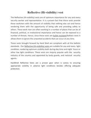 Reflective (Hi-visibility) vest