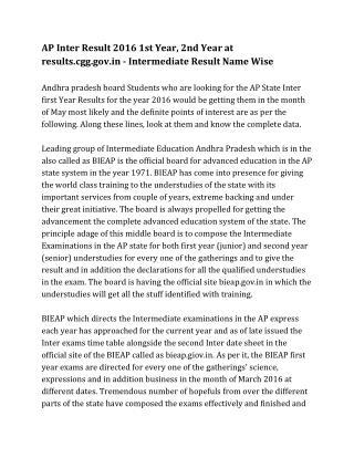 AP intermediate Result 2016 name wise, AP Inter Result
