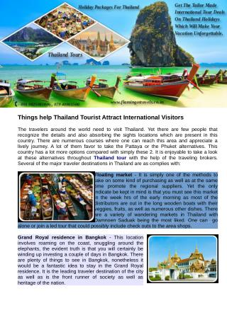 Things help Thailand Tourist Attract International Visitors