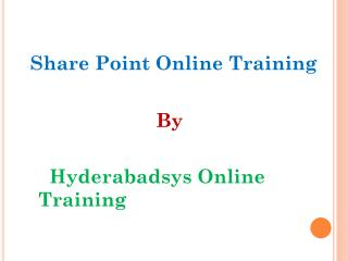 Good Share Point Training | Share Point Online Training in USA and Canada