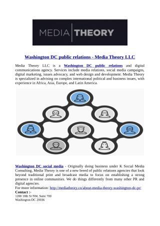 Washington DC public relations - Media Theory LLC