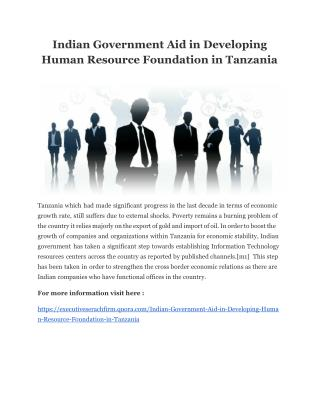 Indian Government Aid in Developing Human Resource Foundation in Tanzania