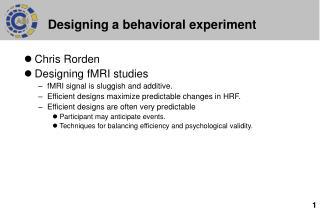 Designing a behavioral experiment