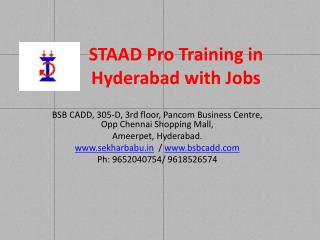 STAAD Pro Coaching Centre in Hyderabad with Jobs