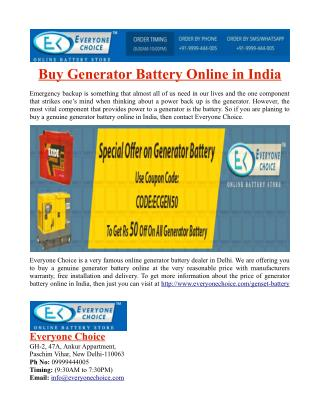 Buy Generator Battery Online in India