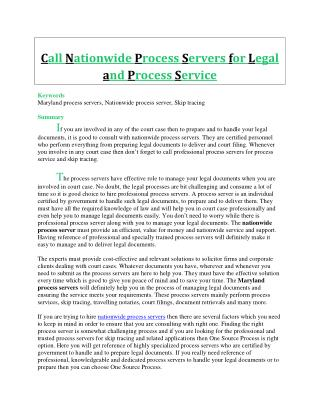 Call Nationwide Process Servers for Legal and Process Service