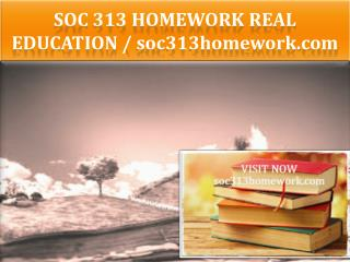 SOC 313 HOMEWORK Real Education / soc313homework.com