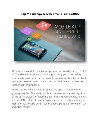 Top Mobile App Development Trends 2016