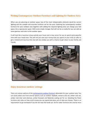 Contemporary Outdoor Furniture and Lighting for Outdoor Area