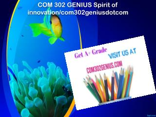 COM 302 GENIUS Spirit of innovation/com302geniusdotcom