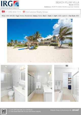 Cayman Residential Property Beach Plum Villa for Sale at Grand Cayman