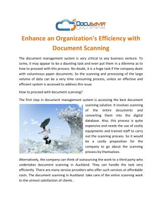 Enhance an Organization's Efficiency with Document Scanning