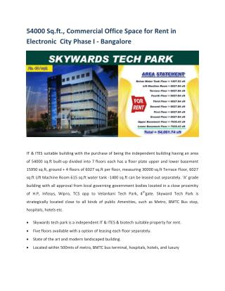 54,000 sq.ft., New Commercial Office/Space Building for Rent in Electronic City Bangalore