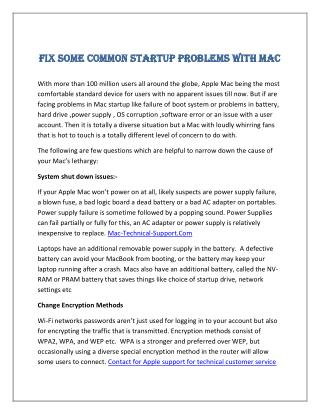 Fix Some Common Startup Problems with Mac