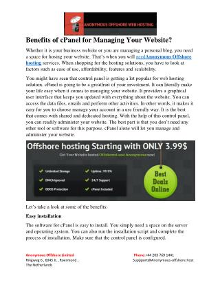 Benefits of cPanel for Managing Your Website?