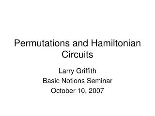 Permutations and Hamiltonian Circuits