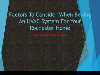 Factors To Consider When Buying An HVAC System For Your Rochester Home