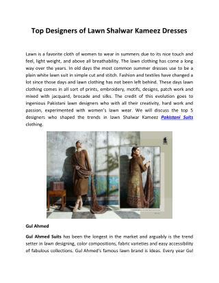 Top Designers of Lawn Shalwar Kameez Dresses