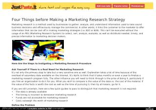 Four Things before Making a Marketing Research Strategy