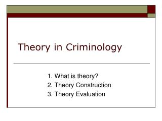 Theory in Criminology