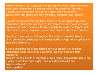 Sugar-Sweetened Drinks Increase Deep Fat in the Body
