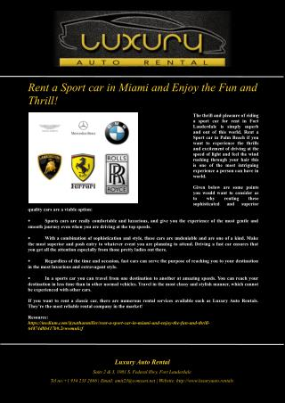 Rent a Sport car in Miami and Enjoy the Fun and Thrill!