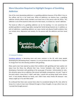 More Education Required to Highlight Dangers of Gambling Addiction