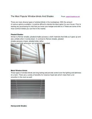 Most Typical home window blinds used