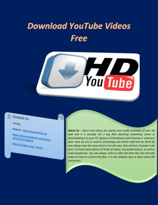 Download Free YouTube Videos Online