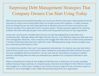 Surprising Debt Management Strategies That Company Owners Can Start Using Today