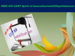 WEB 435 CART Spirit of innovation/web435spiritdotcom