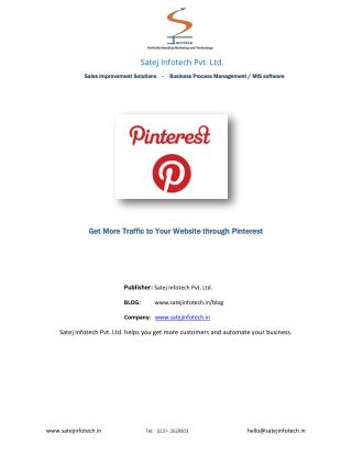 Get More Traffic to Your Website through Pinterest