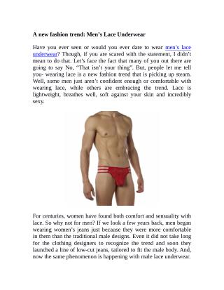 A new fashion trend: Men's Lace Underwear