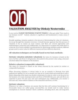 VALUATION ANALYSIS by Oleksiy Nesterenko