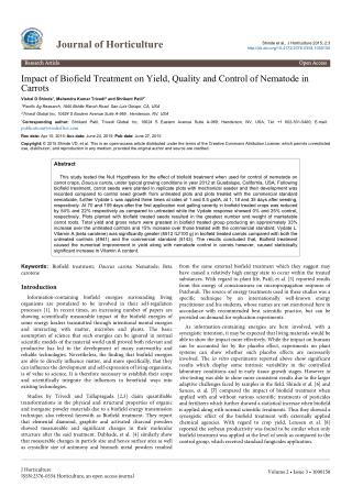 Impact of Biofield Treatment on Yield, Quality and Control of Nematode in Carrots