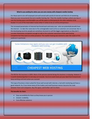 cheapest reseller hosting