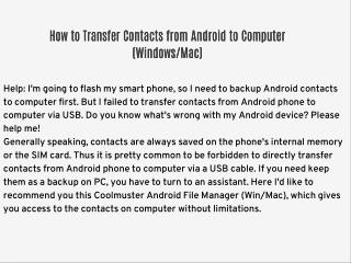 How to Transfer Contacts from Android to Computer (Windows/Mac)