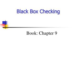 Black Box Checking