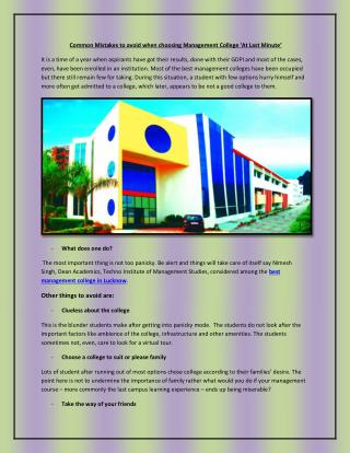 best management college in Lucknow