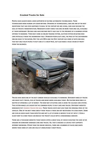 Buy Totaled Trucks For Sale