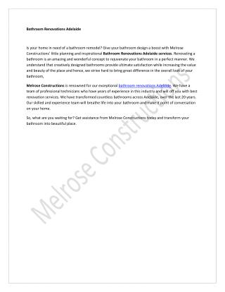 Melrose Constructions - Bathroom Renovations Adelaide