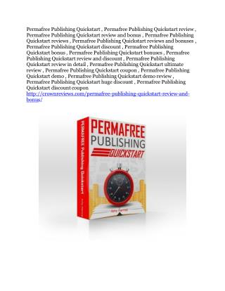 Permafree Publishing Quickstart review in detail – Permafree Publishing Quickstart Massive bonus