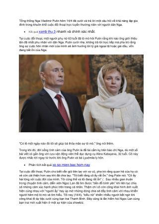 Tổng thống Nga Putin tuyên bố ly hôn