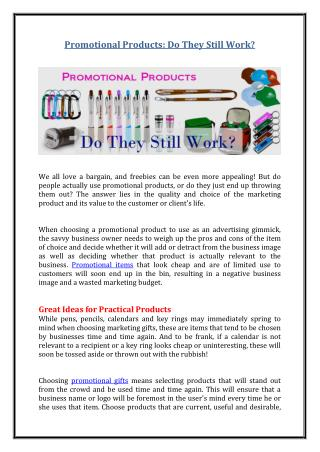 Promotional Products: Do They Still Work?